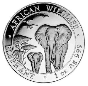 2015 Somalia Elephant 100 Shillings 1 oz Silver 9999 Fine Coin Brilliant UNC+ PL
