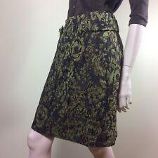 NICOWA Damen Rock M 38 Braun Oliv Strukturiertes Blumen Muster Classy Boho Style
