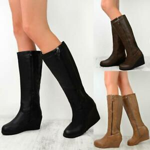 LADIES WOMENS WINTER FUR LINED KNEE HIGH SNOW GRIP SOLE BROWN RIDING BOOTS SIZE