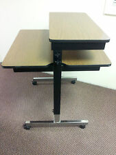 Adjustable computer table, work station, training center