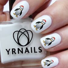 Nail Art Water Transfers Decals - Cartoon Christmas Penguin  - C038