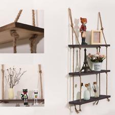 3 Tier Wood Hanging Shelf Wall Swing Storage Shelves Jute Rope Organizer Rack US