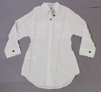 Mango Women's Button Front Longline Shirt With Pockets SH3 Off White Size XS NWT