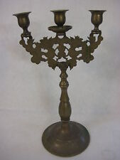 Vintage Chinese Oriental Solid Brass 3 Lights Lion Dog, Dragon Candelabra
