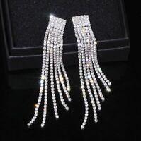 NEW Rhinestone Crystal Long Tassel Earrings Drop Dangle Bridal Wedding Jewellery