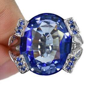 BLUE TANZANITE OVAL RING UNHEATED SILVER 925 18.35 CT 18.2X14.9 MM. SIZE 7.50
