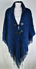 Accessory Street New York Women's Blue & Cranberry Wrap Cape Poncho Sweater