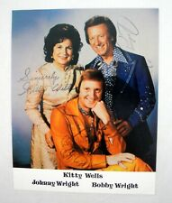 Kitty Wells Johnny Wright Bobby Wright Signatures Vintage Autographed 8x10 Photo