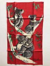 Koala Linen Tea Towel Australia Vintage Neil Poland Kitchen Red Marsupial
