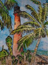 Cape Florida FL lighthouses lighthouse gulf coast watercolor painting art print