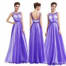 Ever-pretty Women's Long Purple Proms Party Evening Formal Gown Dresses 08747