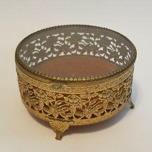 Vintage Gold Ormalu Filagree Ormolu Box Footed Jewelry Trinket Casket Case Metal