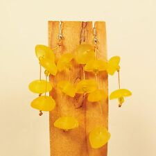 "2 1/2"" Long Lightweight Yellow Faux Seaglass Handmade Dangle Seed Bead Earring"