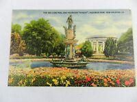 "Vintage 1943 Postcard Sea Lion Pool & Fountain ""HYGEIA"" Audubon Park New Orleans"
