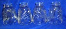 Set of 4 Vintage Clear Etched Light Fixture Shades
