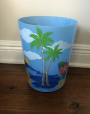 Tropical Palm Tree Waste Basket Trash Can Garbage Office Laundry Bathroom Study