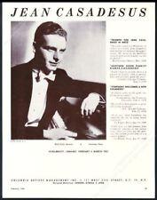1960 Jean Casadesus photo piano recital tour booking trade print ad