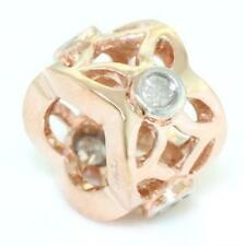 Real Butterly Diamond 9ct 9K 375 Solid Rose Gold Bead Charm FIT EURO BRACELETS