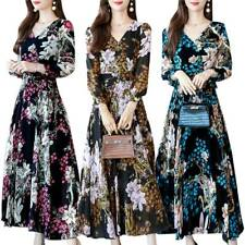 Women's Floral V-Neck Long Sleeve Maxi Dress Party A-Line Swing Dresses