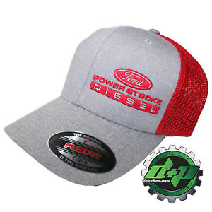 Ford Powerstroke hat ball cap fitted flex fit flexfit stretch diesel OSFA RED
