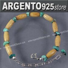 BRACCIALE INDIANI D'AMERICA TURCHESE OSSO Argento 925 af