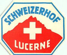 LUZERN / LUCERNE SWITZERLAND HOTEL SCHWEIZERHOF VINTAGE LUGGAGE LABEL