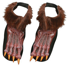 WEREWOLF WOLF FURRY FEET BROWN FANCY DRESS COSTUME HALLOWEEN SHOES COVERS TOPS