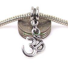 Ohm OM Symbol Dangle Bead Yoga Aum Sign Silver Tone for European Charm Bracelet