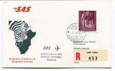 FFC 1963 SAS First Flight Zurich Entebbe Kampala Uganda REGISTERED Liechtenstein