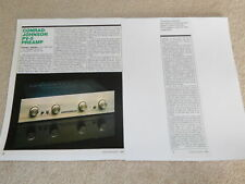 Conrad-Johnson PV-5 Tube Preamp Review, 2 pg, 1984