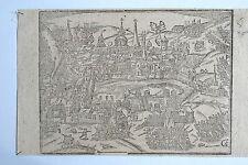 44-52-3 Gravure carte Sébastien Munster vue de ville de St Denis époque fin 16e