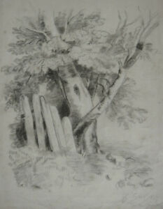 Antique French drawing. Landscape with trees. Signed. April 1865