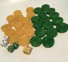 VINTAGE BACKGAMMON GREEN SWIRL REPLACEMENT PIECE CRISLOID BAKELITE 1 5//8 X 3//8