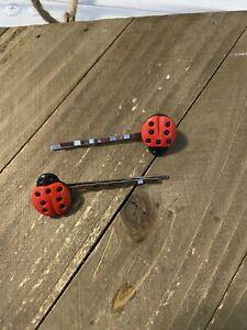 Lady Bug Hair clips (a pair)