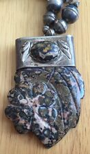 Vintage Leopard Skin Jasper Necklace Chunky Flower Natural Stone