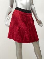 PRADA Womens Red+Black Crinkle Textured Satin Drawstring Waist A-Line Skirt 40/4