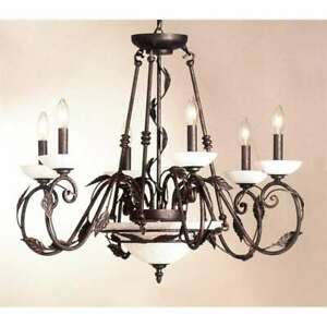 Classic Lighting Capri Wrought Iron Chandelier, Rust-Copper - 9284RC
