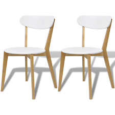 2pcs White Dining Chairs Wooden Lacquered MDF Brich Wood Kitchen Backrest Chair