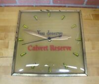 Old CALVERT RESERVE SIGN CLOCK GLASS BOW FRONT METAL FRAME WHISKEY NYC USA *NOAG