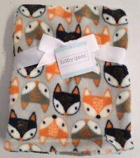Baby Gear Boys Fox Print Lightweight Baby Blanket Gray/Navy/Orange Poly 30x36