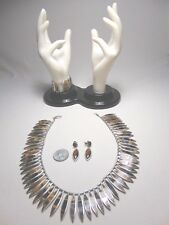 Three piece Mexican sterling and tiger eye jewelry set by Tono