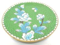 VINTAGE 1960s ASIAN BRASS CLOISONNE TRINKET DISH GREEN BLUE WHITE FLORAL ROSES