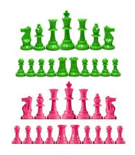 Staunton Single Weight Chess Pieces - Set of 34 Pink & Neon Green - 4 Queens