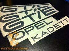 OPEL KADETT C +3x GTE GT/E DEKOR DECAL EMBLEM ORIGINALGRÖSSE AUFKLEBER LOGO  NEU