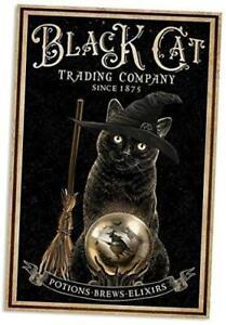 Black Cat Tin Sign Witch Rustic Metal Wall Plaque Decor Bar Cat Club Novelty