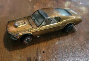 Vintage Hot Wheels Redline Custom Mustang Gold 1967