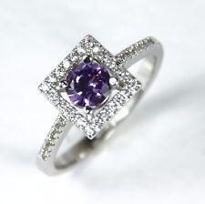 Para mujer Anillo de cristal púrpura bañado en oro blanco