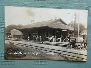 LEHIGH VALLEY STATION @ TUNKHANNOCK, PA  c1918 Railroad DEPOT REAL PHOTO PC