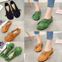 Women Soft Leather Slip On Lazy Portable Comfortable Flat Loafers Casual Shoes
