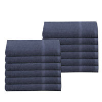 Navy Blue Gym Guest Small Hand Towels 100% Cotton 30 x 85 cm 450 gsm Pack of 12